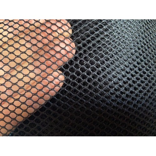 Mesh fabric, weight 85g/m², width 160cm, black colour. 100% polyester. Free shipping!