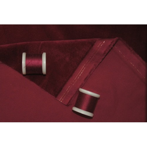 Stage Velvet, Bordeaux color. Material: 100% cotton. Weight 350 g/m². Width 150 cm. Flame retardant according to DIN 4102 / B1