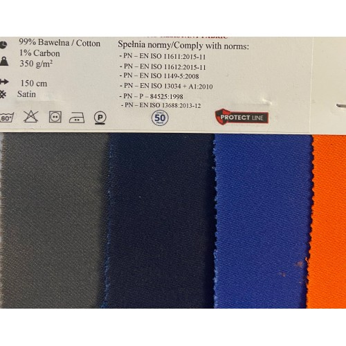 Flame retardant, Water-proof, Antistatic and Acid resistant Fabric. Weight 350g/m², width 150cm, Royal. Free shipping!