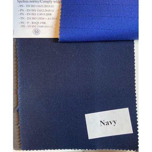 Flame retardant, Water-proof, Antistatic and Acid resistant Fabric. Weight 350g/m², width 150cm, Navy. Price per roll 50m, VAT incl.