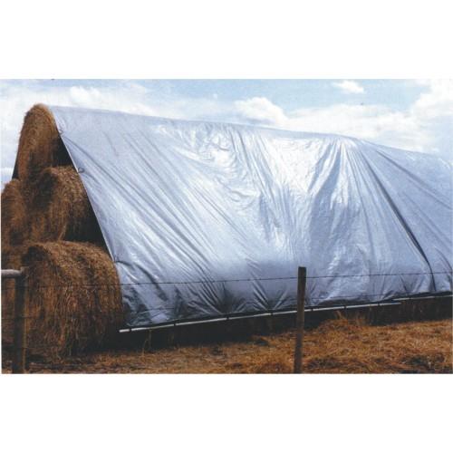 Tents, blīvums 110 g/m², izmērs 6x8 m, polipropilēns. Sudraba krāsa