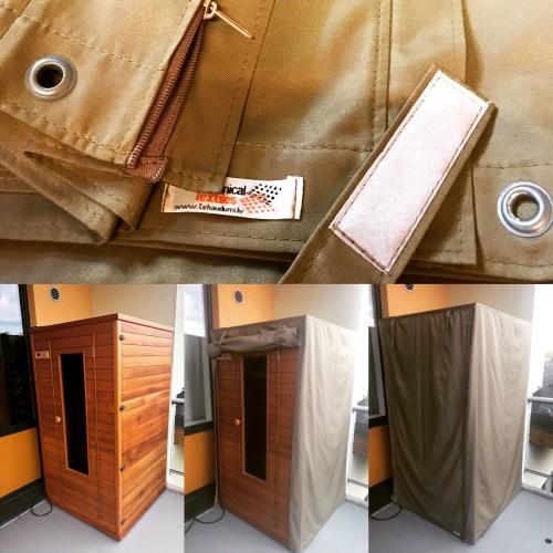 Waterproof Fabric 03C, Dark beige. Weight 234g/m², width 150cm. Cotton 54%, polyester 46%. Free delivery!