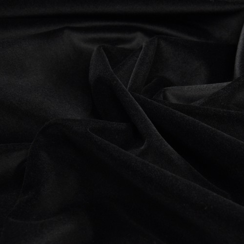 Stage Velvet, Black colour. Material: 100% cotton. Weight 350 g/m². Width 150 cm. Flame retardant according to DIN 4102 / B1