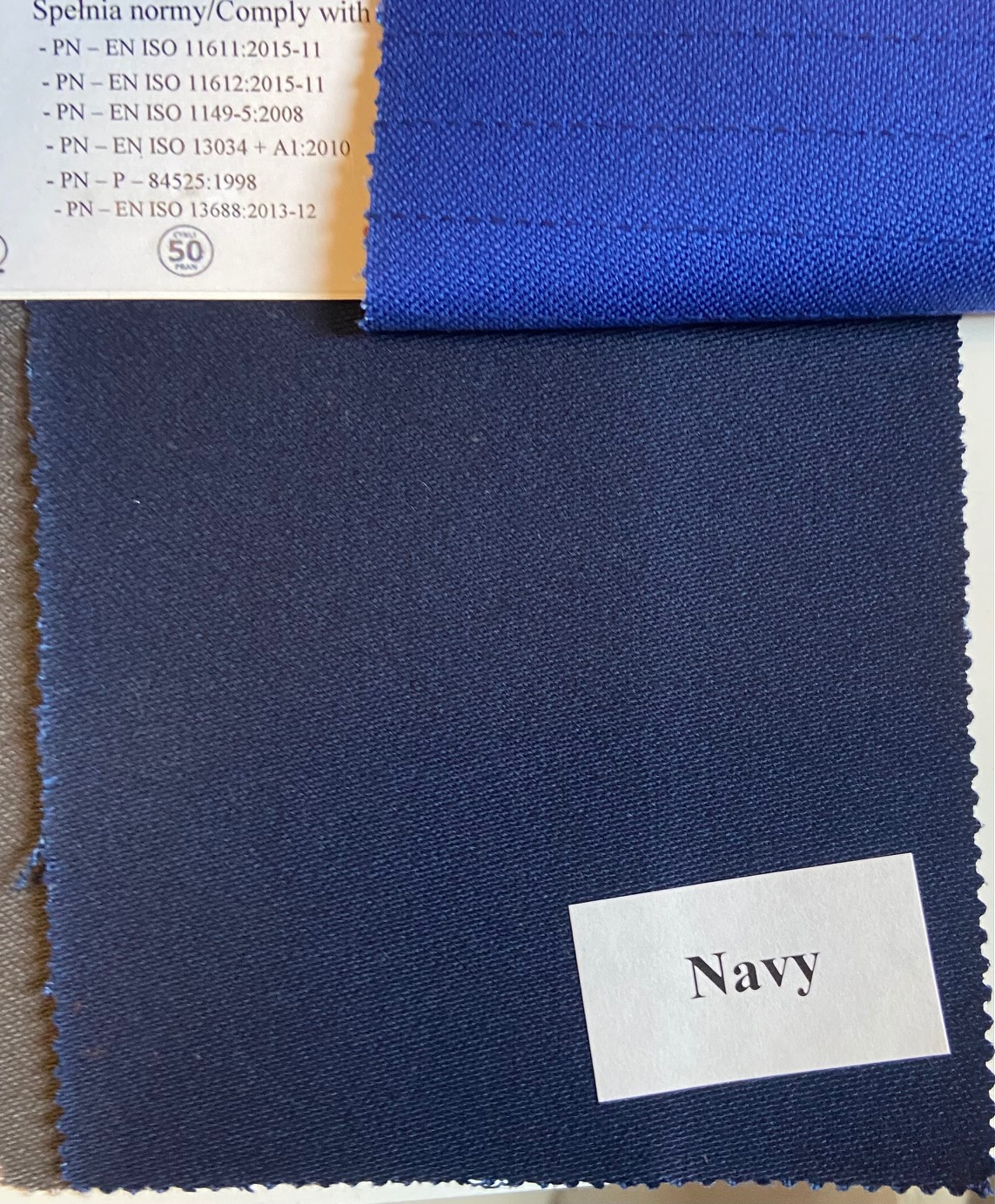 Flame retardant, Antistatic and Acid resistant Fabric. Weight 350g/m², width 150cm, Navy. Price per roll 50m, VAT incl.